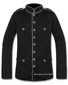 Mens Military Jacket Black White Goth Steampunk Army Officer Pea Coat #Handmade #Peacoat