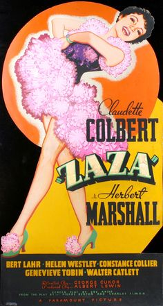 """Cardboard lobby stand-up to advertise the 1938 film, """"Zaza,"""" directed by George Cukor and starring Claudette Colbert, Herbert Marshall and Bert Lahr (the Cowardly Lion from """"Wizard of Oz"""")."""