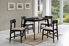 Coaster Dinettes 150348 5 PC Dining Set with 4 Chairs Square Table Beige Fabric Upholstered Seats Curved Backrests Asian Hardwood and Okume Veneer Material in Warm Grey -- For more information, visit image link. (This is an affiliate link) #DiningChair