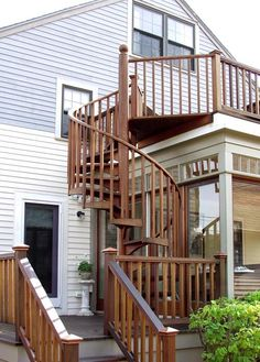 Image result for spiral stairs wood deck