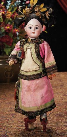 The Lifelong Collection of Berta Leon Hackney: 343 Bisque Doll in Very Elaborate Original Asian Costume for the French Market