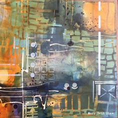 StencilGirl Talk: Mary Beth Shaw's art with her Stone and Mortar Version 2 stencil.