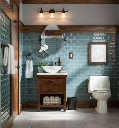 Rustikales und modernes Badezimmer-Blau-Grau-Glasfliesen Source by adriarush Rustic Bathroom Designs, Modern Farmhouse Bathroom, Design Bathroom, Bathroom Colours, Blue Bathroom Tiles, Tile Design, Bathroom Accents, Subway Tile Bathrooms, Dark Wood Bathroom