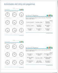 Actividades del reloj con pegatinas (Edufichas.com)