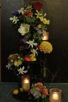 10月 一会定期スクール シェアして持ち帰りができるゲストテーブル : 一会 ウエディングの花