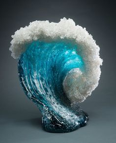 "culturenlifestyle: "" Sculpting The Sea with Glass – Vases and Home Décor Recreates the Monumental Beauty of Waves California-based artist duo Marsha Blaker and Paul DeSomma creates spectacularly. Frozen Waves, Cristal Art, Blown Glass Art, Glass Vessel, Ocean Waves, Resin Art, Oeuvre D'art, Fused Glass, Stained Glass"