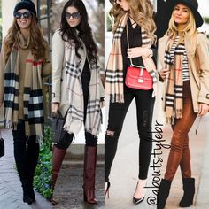 Herbstmode Herbstmode in 2020 Winter Fashion Outfits, Fall Winter Outfits, Autumn Winter Fashion, Burberry Scarf Outfit, Casual Chic, Ways To Wear A Scarf, Office Fashion Women, Winter Looks, Casual Work Outfits