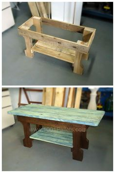 Pallet Furniture Projects Very simple coffee table built with 1 pallet only. The structure was stained in dark brown and for the top table and shelf below I made a patina with blue and green and then, sanded. - Greenish patina on coffee table. Pallet Crafts, Diy Pallet Projects, Wood Crafts, Wood Projects, Woodworking Projects, Pallet Ideas, Woodworking Plans, Popular Woodworking, Wood Ideas