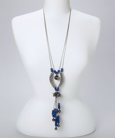Another great find on #zulily! Silver & Lapis Bead Tassel Pendant Necklace #zulilyfinds