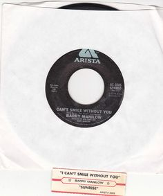 """Barry Manilow / Can't Smile Without You / Sunrise 7"""" Vinyl 45 RPM Record & Jukebox Strip #EasyListening #Pop #Music"""