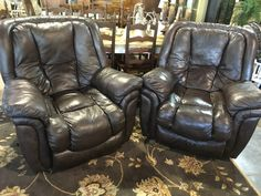 Leather Brown Recliner  - Auburn SKU 14NJK3 2 available  - $450 each
