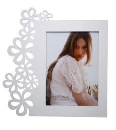 Premium MDF Wood Artistically LASER Cut Floral Border Photo Frame: 5 by 7