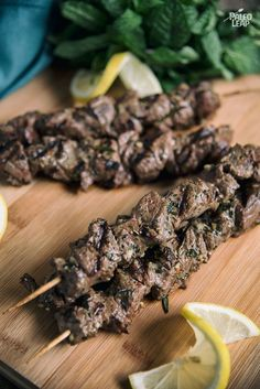 Souvlaki Skewers A taste of Greece in a beef skewer with a refreshing marinade of lemon, mint and herbs.A taste of Greece in a beef skewer with a refreshing marinade of lemon, mint and herbs. Greek Recipes, Low Carb Recipes, Healthy Recipes, Scd Recipes, Family Recipes, Meat Recipes, Grilling Recipes, Cooking Recipes, Vegetarian Grilling