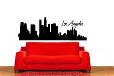 3058 - Los Angeles City Skyline Wall Decal Sticker Graphic Mural