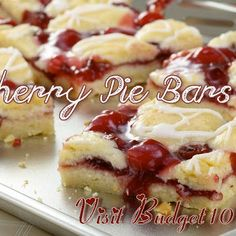 Valentines Cherry Pie Bars recipe featured on DesktopCookbook. Ingredients for this Valentines Cherry Pie Bars recipe include 1 cup of butter softened, 2 cups of sugar, 4 eggs, and 1 tsp vanilla extract. Create your own online recipe box. Easy Desserts, Delicious Desserts, Yummy Food, Fun Food, Cookie Recipes, Dessert Recipes, Dessert Ideas, Picnic Recipes, Picnic Ideas