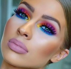 Bright Eyeshadow The eye colors are sooooo The lipstick looks like mortuary makeup! Ugh Bright Eyeshadow The eye colors are sooooo The lipstick looks like mortuary makeup! Glam Makeup, Love Makeup, Makeup Inspo, Eyeshadow Makeup, Makeup Art, Makeup Inspiration, 80s Eye Makeup, Eyeshadows, Makeup Trends