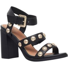 KG by Kurt Geiger Nutty Studded Block Heeled Sandals , Black ($130) ❤ liked on Polyvore featuring shoes, sandals, black, strappy high heel sandals, black high heel sandals, strappy sandals, black strap sandals and ankle strap sandals
