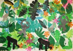 Going to the Zoo tissue paper jungle collage, combined with zoo trip Jungle Crafts, Jungle Art Projects, Monkey Art Projects, Zoo Crafts, Primary School Art, Zoo Art, Ecole Art, Art Lessons Elementary, Preschool Art