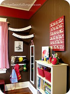 hooks in playroom for dress up clothes