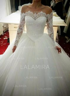 Ball-Gown Off-The-Shoulder Cathedral Train Tulle Lace Wedding Dress With Beading (002147813)