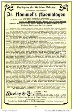 Original-Werbung/ Anzeige 1905 - DR. HOMMEL'S HAEMATOGEN / NICOLAY & CO. - ca. 130 x  200 mm