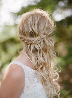 gorgeous sideswept curly wedding hair with braid  ~  we ❤ this! moncheribridals.com