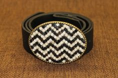 Women's Belt Buckle   Chevron Heishi beaded black by ShaggySugar, $25.00