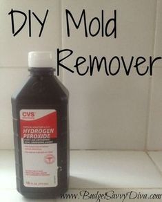 DIY Mold Remover 1/2 cup hydrogen peroxide and 1 cup water in spray bottle. Spray the mold/mildew and allow to sit for an hour. Rinse and wipe clean (tougher mold may need to be scrub). by nobie001