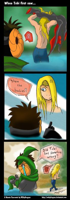 "Naruto Shippuden » Humor » Comic | When Tobi first say Deidara naked: ""Where the boobies?"" 