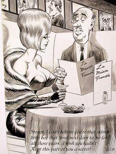 Original Comic Art titled Bill Ward-Mastered Every Tongue But Wife's!-bigger pic, located in filogopher's Bill Ward Comic Art Gallery Bill Ward, Good Girl, Adult Cartoons, Funny Cartoons, Trans Art, Funny Postcards, Pin Up, Fun Comics, Comics Girls