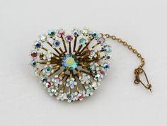 Unique Floral Enamel Aurora Borealis Vintage Brooch.