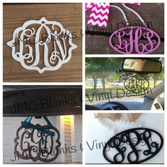 Acrylic Monogram Car Mirror Hanger Decor by JMCBlanks on Etsy