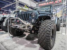 Blue Teraflex Jeep Wrangler JK Front Bumper Fox Shocks Nemesis Fenders SEMA 2015