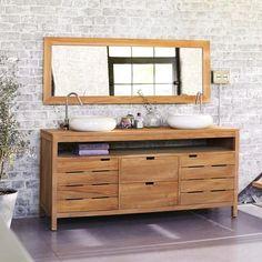 Meuble sous vasque teck brut – Vente meubles sous vasque Arty Duo