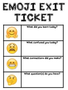 """Use these """"Emoji Exit Tickets"""" to formatively assess student learning in a fun, relevant way! This set includes 6 different exit tickets to print for students individually or to hang in your classroom for daily use. Assessment For Learning, Formative Assessment, Student Learning, Writing Rubrics, Paragraph Writing, Opinion Writing, Persuasive Writing, Teaching Strategies, Teaching Tips"""