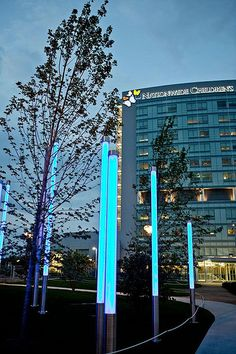 Glowing light sticks outside Nationwide Children's Hospital, Columbus, Ohio.
