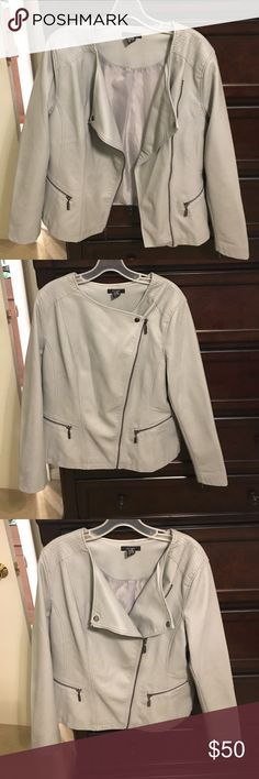 Gray leather moto jacket Gorgeous leather style jacket that will add sleek edge to any outfit. Worn just once for a few hours, and in new condition. Trust me, you will love this jacket!! Alfani Jackets & Coats