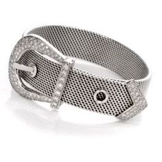 Diamond Belt Buckle White Gold Bracelet This stylish and charming diamond bracelet is crafted in solid white gold. Designed to simulate a waist belt, this bracelet features a prominent pave-set round diamond belt buckle. Diamonds on the buck White Gold Diamond Bracelet, White Gold Diamonds, Gold Belt Buckle, Belt Buckles, Silver Bangles, Sterling Silver Bracelets, Clean Sterling Silver, Antique Bracelets, Vintage Diamond