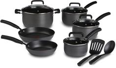 T-fal D913SC Signature Hard Anodized Scratch Resistant PFOA Free Nonstick Thermo-Spot Heat Indicator Cookware Set, 12-Piece, Gray >>> Click image for more details.