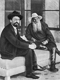 Count Lev Nikolayevich Tolstoy: September 1828 – November 1910 was a Russian writer who primarily wrote novels & short stories. Anton Pavlovich Chekhov: January 29 1860 – 15 July 1904 was a Russian physician, dramatist and author. Writers And Poets, Book Writer, Book Authors, Zar Nikolaus Ii, Anton Chekhov, Russian Literature, Great Novels, Anna Karenina, Cult