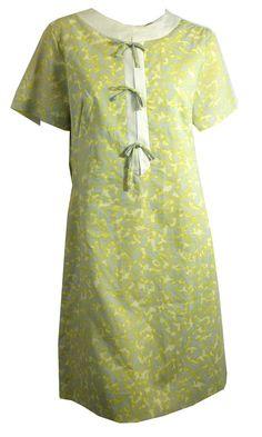 Lime and Pale Blue Vine Print Nylon Shift Dress circa 1960s Dorothea's Closet Vintage Clothing
