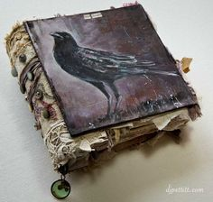 crow painting journal cover I just love crows! Handmade Journals, Handmade Books, Handmade Notebook, Altered Books, Altered Art, Crow Books, Book Art, Artist's Book, Crow Painting