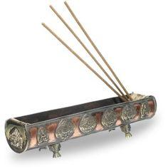 8 Auspicious Symbols Copper Incense Burner Rounded