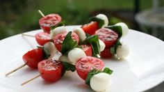 Cocktail tomato and mozzarella BBQ kebab snacks