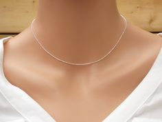 Sterling Silver necklace, Ball Necklace, Bead Necklace, Sterling Silver Chain, Silver Necklace, Plain Chain, finished chain, Dainty Beaded by StampsINK on Etsy
