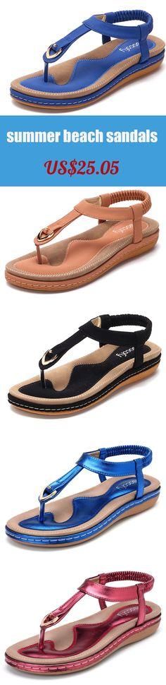 US$25.05  Comfortable Elastic Clip Toe Flat Beach Sandals