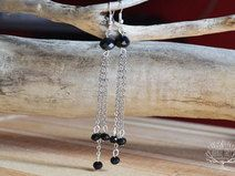 Dangle earrings with black crystals