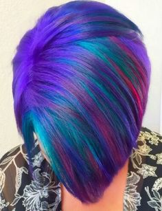 Purple streaked dyed hair
