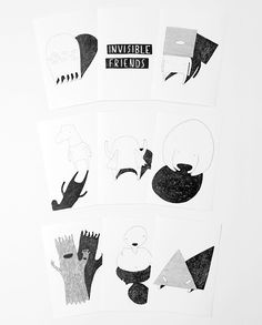 """My Buemann. Young Danish graphic designer and illustrator.   This is a series of 8 postcard sized illustrations titled """"Invisible Friends"""". Printed and signed."""