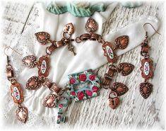 Hand Painted, Enamel Floral Rose Heart Charm Bracelet, Book Chain Parure, Earrings, Lock Key, Red Roses, Copper Bracelet, Victorian Style